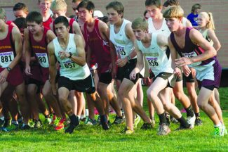 Bob Shearon | Special to the DailyThe Battle Mountain boys cross-country team bursts out of the gate at Friday's Joe Martin Invitational Friday in Fort Collins. The Huskies placed 13th in a stacked field.