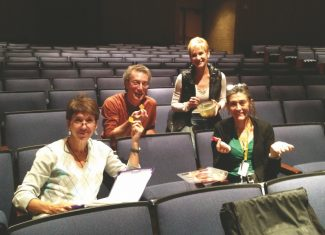 """They collaborate on the show and snacks too! Artistic Director, Beth Swearingen, Lighting Designer and Technical Director, Dean Davis; Assistant Director, Connie Kincaid; and Production Stage Manager, Kaylee Brennand during a rehearsal break for """"Company."""""""
