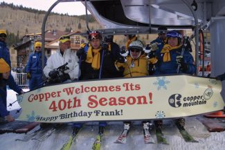 Paige Blankenbuehler/ Summit Daily NewsFrank Walter, second from right, celebrating his 90th birthday, rides first chair at Copper Mountain's opening day Friday alongside his son Larry Walter, left, grandson Jake Bright, second from left, and friend Gary Rogers, right.
