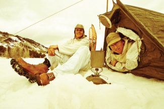 Tony Siebert (left) and Chris Anthony camping in vintage gear. Camp Hale, Colorado.
