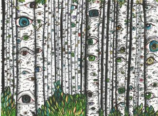 """""""Aspens with eyes #2,"""" Marker on paper, by Madison McCaulley."""
