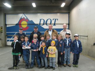 Bear Den No. 7 of the local Cub Scout Pack 231 took a tour of the Colorado Department of Transportation station inside the Glenwood Tunnel. The scouts learned about how CDOT monitors weather and traffic to manage the mountain highways. They saw emergency rescue vehicles and huge fans, and they got to look down a hole in the floor to see the trucks and traffic whizzing by underneath them. Thank you to all the CDOT workers who gave the tour!