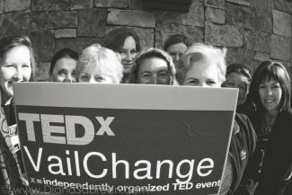A group of local women gather for the independently organized TedXChange broadcast in Vail, Colorado