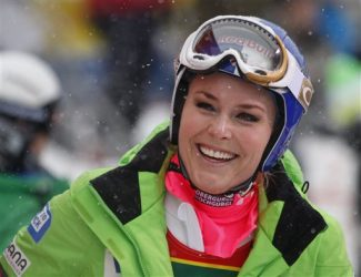 Lindsey Vonn of the United States reacts in the finish area following her run at the women's World Cup super-G ski race in Lake Louise, Alberta, Sunday, Dec. 2, 2012. (AP Photo/THE CANADIAN PRESS/Jeff McIntosh)