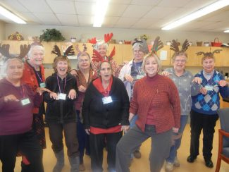 Joann Moore and the Minturn Senior Reindeer Rockettes.