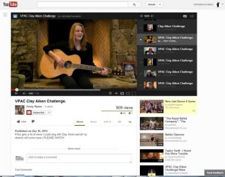 """Special to the DailyContestant Avery, pictured here singing 'Silent Night' is one of several students hoping to win the chance to sing on stage with Clay Aiken on Tuesday evening. Place your votes by 5 p.m. Monday - every """"view"""" on YouTube counts as a vote."""