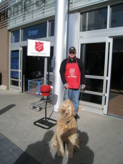 Can you spare two hours? Can you share your dog? Dave Scherph and Sadie were working hard at Walmart's west door for Salvation Army. Sadie was very successful!