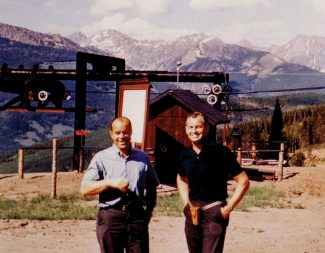 Vail's founder Pete Seibert, left, and the first ski school director Morrie Shepard are all smiles as they prepare for opening day in 1962. The two skied on ahead to watch the fun when they opened Vail's Back Bowls for the first time in 1962.
