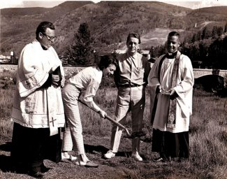 At the ceremony for the ground breaking for Vail's Interfaith Chapel was, from left, Father Thomas Stone, Cissy and John Dobson, Rev. Don Simonton.