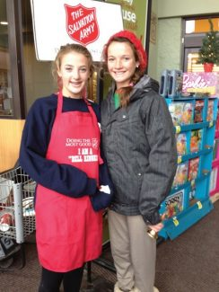 Abby Carlson and Keavy Quagliane ring the bell at City Market in Avon. To volunteer, please call Salvation Army at 970-748-0704 or sign up online at salvationarmyvail.org.