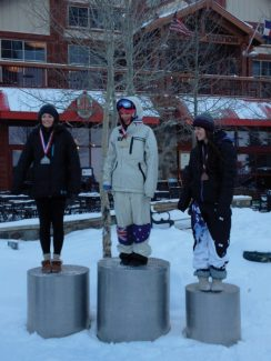 Michael Suleiman | Special to the DailySki & Snowboard Club Vail's Kaitlyn Harrell, 15, right, landed on the podium in third place at U.S. Selections at Copper Mountain last week. She finished just one place away from making the World Cup spot.