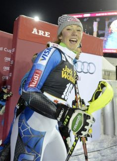 Mikaela Shiffrin, of the United States, smiles at finish line after winning an alpine ski, women's World Cup slalom, in Are, Sweden, Thursday, Dec. 20, 2012.  (AP Photo/Giovanni Auletta)