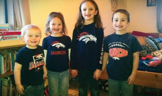 Broncos fans, from left: Justin Nestor, Sage Bergstreser, Brooke Bergstreser and Glen Nestor.