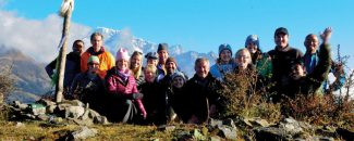 Special to the DailyA group of Habitat for Humanity volunteers are treated to a spectacular view of Mount Everest, Lhotse, Makalu and the Sacred Mountain on a cultural trek following their Habitat Everest Build Week.
