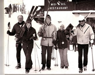 That's Jerry Ford on the far left not long after he and Betty started bringing the family to Vail. It can now be told: Jerry and Betty borrowed against the cash value of their children's life insurance policies to come up with the down payment for their first Vail home, a condo in The Lodge at Vail.