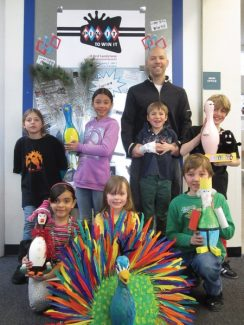 Red Sandstone elementary school did some amazing things with bowling pins donated by Josh Carbo, manager of Bol. The pins will be auctioned Friday as part of Red Sandstone's Pin It to Win It benefit. The goal is to raise $37,000 so they can hire a school librarian. The position was cut during the last round of school district budget cuts.
