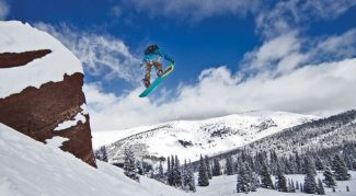 Hunter Swanson hucks off Lover's Leap in Blue Sky Basin last Tuesday morning. Photo by Bjorn Bauer.