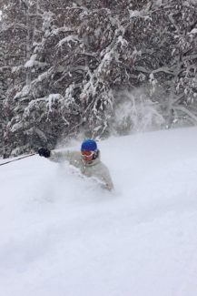 Matt Lorrobino of West Vail plows through deep powder in the Yonder trees at Vail. Photo taken by Guillaume Plante.