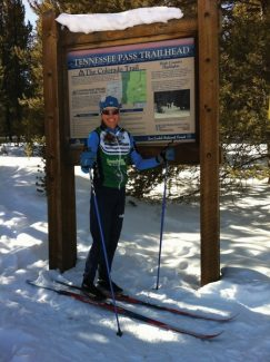 Pictured at trailhead is Roxanne Hall, Leadville, CO. Roxanne is ownerof the Tennessee Pass Cookhouse.