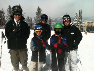 """The 2012 Beaver Creek President for a Day with his """"Secret Service Team"""" and """"Vice President"""".Photo credit: Beaver Creek Resort."""