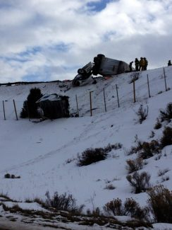 Mike Devins | Special to the DailyAn Idaho man died Wednesday in a truck crash on Interstate 70 near Wolcott.