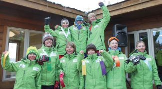 Special to the DailySki & Snowboard Club Vail's U14 boys' slalom racers celebrate at the Bolle Age Class race in Eldora during the weekend.