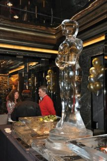 Another beautiful creation by Paul Wertin, the Oscar ice sculpture holds court over the raw bar at the Cinebistro Oscar Party on Sunday at Solaris in Vail.