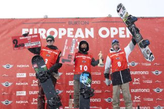 Special to DailyAyumu Hirano stands atop the podium atthe Burton European Open -- the European version of the event now happening in Vail.