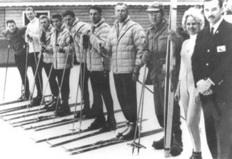 Dusty DeLario   Special to the DailyVail's first ski team was, from left, Pepi Gramshammer, Jim Wiggins, Billy Peterson, Dusty DeLario, George Rau, Manfred Schoeber, Morrie Shepard, Earl Eaton, and beautiful blond woman from the Vail marketing department who no one can identify, and Bob Parker, Vail's marketing magician who put that rose among these thorns.