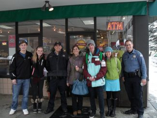 """The Eagle River Youth Coalition's Youth Leaders Council, Battle Mountain """"Be A Sober Husky"""" student group and Vail Police Department recently conducted a Project Sticker Shock underage drinking prevention campaign. Thank you to West Vail Liquors, Alpine Wine & Spirits, Grappa Fine Wines and Lionshead Liquors for collaborating to promote a safer community!"""