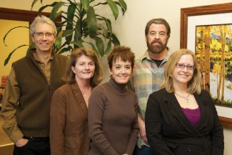 Special to the DailyThe officers of the Vail Valley Charitable Fund board of directors and new staff members are, from left, Pete Brill, secretary; Mary McDougall, vice chair; Michelle Maloney, executive director; Fara Denhart, marketing and events coordinator and Rohn Robbins, chair. Not pictured is Ellen Moritz, treasurer.