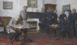 """Surrender at Appomattox    Tom Lovell,   Oil,  18"""" x 30"""" Shown at left standing next to General Lee is his military secretary, Colonel Charles Marshall. Accompanying General Grant, seated at the small table on the right, were officers of his staff, including Major General Phillip H. Sheridan, Colonel Orvillle E. Babcock, Lieutenant-General Horace Porter, Major-General Edward O.C. Ord, Major-General Seth Williams, Colonel Theodore S. Bowers, Colonel Ely S. Parker, and Major-General George A. Custer on the far right."""