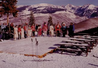 Note the bright blue Colorado sky on the day the Ute Indians were invited to Vail to perform a snow dance. Scoff if you must, but it snowed days later after the Utes were safely home, when Minnie Cloud said it would.