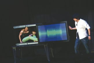 Special to the DailyJason Bishop uses sleight of hand, grand illusions and close-up magic during his show, which is all captured live and projected onto large movie screens.