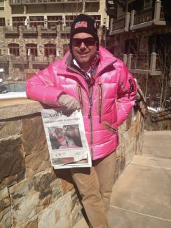 Mark Brown, of Denver and Vail, displaying his support of Pink Vail (perfect opportunity to wear his new jacket) and of course the Vail Daily.