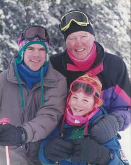Special to the DailyBud Palmer skiing in Vail with son-in-law Jeff Landercasper and grandson Chris Landercasper.