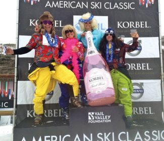 DJ Vaughan, Holly Nielsen, Lauren Arnold and Matt Leach showed their spirit during the Conway Cup at Golden Peak.  Vaughan was celebrating a 17 year career in the Vail Valley and new opportunities in St. Louis.
