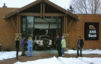 A small SUV crashed through the entrance to the ANB Bank in Avon Saturday morning. Photo submitted to the Vail Daily by Guy Patterson.