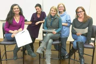 Left to right:  Kaylee Brennand, Nicole Whitaker, Tricia Swenson, Carol Conger and Martha Brassel. Gena Buhler and Sarah Schleper are also taking part in the production, but are not pictured.
