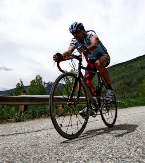 A cyclist climbs Vail Pass, one of the signature rides in the area. The Town of Vail was recognized as one of the top bike-friendly communities by the League of American Bicyclists.