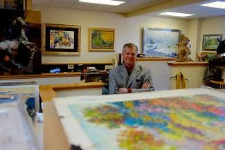 Fine art collector Jim Tylich stands amid the many paintings in his office in Edwards, which he is turning into a by-appointment gallery for clients. Tylich has owned the Vail Fine Art Gallery for 25 years and specializes in Russian impressionist art.