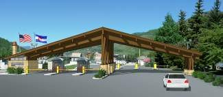 The parking attendant booths at the Lionshead Parking Structure will be replaced with a new entrance structure with integrated booths and new landscaping and irrigation, as well as snowmelt for the entry and exit lanes.