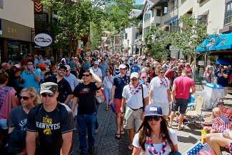 Thousands flood the streets of Vail at the conclusion of the Vail America Days parade last year.