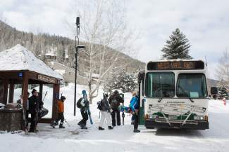 VAIL: IN TRANSIT — Skiers and Snowboarders load the West Vail bus bound for Vail Resorts and a day of skiing and riding on Wednesday, March 16. A total of 2.2 million people rode town of Vail buses from November 2015 through March 2016.