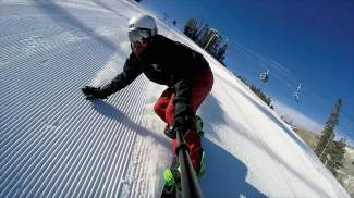 """BEAVER CREEK: ON THE MOUNTAIN — Beaver Creek host Ross Leonhart rips some corduroy during an On the Hill segment earlier this season. Leonhart might not have counted the number of trees he """"kissed"""" this season, but he estimates the number of corny jokes he told at about 40."""