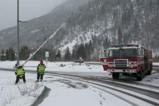 VAIL: IN TRANSIT — The Vail Fire Department closes the on-ramp to Interstate 70 as snow conditions worsen on Vail Pass on Wednesday, March 30. The Colorado Department of Transportation closed Vail Pass 48 times this season.
