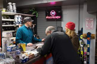 Sasha Gros, of Vista Bahn Ski Rentals, checks out customers for seasonal ski storage on Tuesday, April 5. Vista Bahn wasn't able to drum up their total number of ski and snowboard rental days for the season by press time, but we're guessing it's somewhere in the thousands.