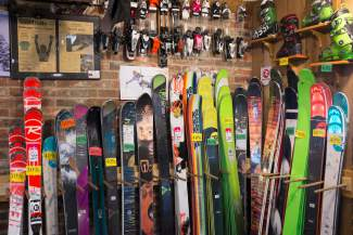 VAIL: AROUND TOWN — Skis are seen for sale at Buzz's Boards in Vail on Tuesday, April 5. Owner Buzz Schleper didn't have exact numbers for how many skis and boards he sold this season at press time, but he said he had about an 80 percent sell-through rate on the season.
