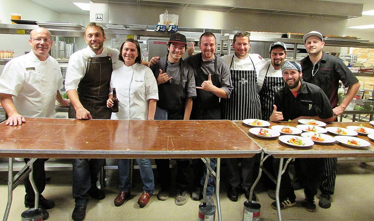 Chefs Paul Ferzacca, Riley Romanin, Kelly Liken and their staffs.
