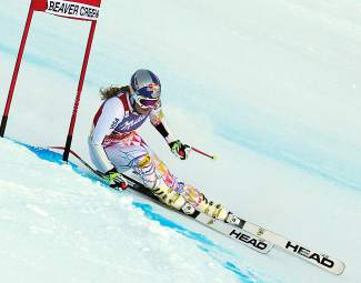 Lindsey Vonn slows to a stop after a training run down a Super-G course, Friday, Nov. 29, 2013, in Vail.